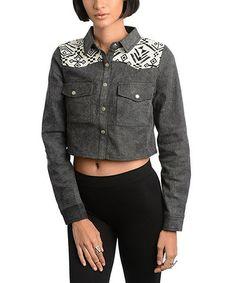 Black & White Tribal Denim Jacket by 24|7 Frenzy #zulily #zulilyfinds