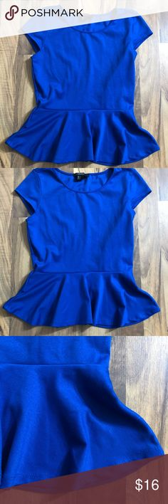 Beautiful Blue F21 Size Small Solid Peplum Top This peplum top is up for sale! Great condition! Cute!  ❤ beautiful blue ❤ Peplum style ❤ stretchy, but comfy material ❤ Size Measured in Pictures 🔍📏   ✅ Bundle up items and save 💲✅  ❤️I love reasonable offers. ❤️ 🎉 Pair w/jewelry, acc. or shoes🎉 🆕 New items every week! 🆕  I'm a mama on a mission. I sell items online to support my 2 sons. Every purchase is important to us. Thanks for your support. Forever 21 Tops Blouses