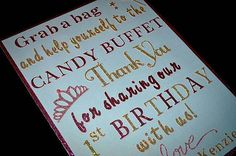 Candy Buffet Sign / Candy Bar Sign / Thank You by TwinPerfection2