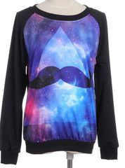 Space Stache-  Galaxy print mustache sweater - Stay Selfie-Ready in our Amazing Clothes, Bags & Accessories! The hottest new styles in women's clothing including Trendy Dresses, Women's tops, fly bottoms & Perfect Clubwear!