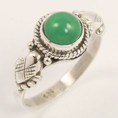 Natural GREEN ONYX Cabochon Gemstone 925 Sterling Silver Tribal Ring Size US 8…