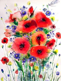 Poppies Painting by Lesya Nedzelskaya Watercolor Poppies, Watercolor Paintings, Watercolours, Poppies Painting, Watercolor Tattoo, Poppies Tattoo, Alcohol Ink Art, Irezumi, Painting Inspiration