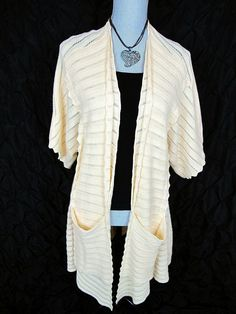 Anthropologie Guinevere Sweater XL L Cardigan Top Yellow Cashmere Cotton Jacket #Anthropologie #Cardigan