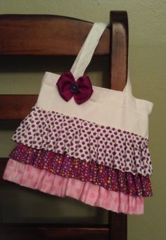 Ruffle tote bag by NicALouBoutique on Etsy, $25.00