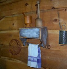Primitive Wood Tool Box Repurposed To Wall Shelf & Towel Bar