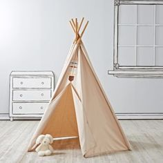Every little explorer will feel right at home in our Happy Camper Teepee.  This unique teepee features six sides and is part of our exclusive Camp Wandawega for Nod Collection. Nod exclusivePart of our Camp Wandawega for Nod CollectionSix-sided teepeeAdult assembly requiredShow 'em what you're made of100% cotton canvas coverSolid bamboo polesPVC pole connectorsCare instructionsFor indoor use onlySpot clean onlyAge range3 and up.