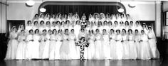"magazine print scan. Sisters of St. Joseph for Magazine. Beth Healy story. The Sisters of St. Joseph in 1962, in a ceremony where they wear wedding gowns (many of them borrowed) before taking temporary vows and changing into habits as ""novices."""