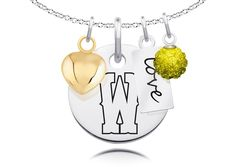 """Wyoming Cowboys Necklace with Heart, Color and Love Accents. Officially Licensed. Standard Chain Length is 16"""". Circle Charm Size is 17mm (size of a dime). Crystal Ball Measures 5mm in Diameter. """"The indicia featured on this product is a protected trademark owned by the respective college or university.""""."""