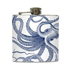 Vintage Navy Octopus Print Whiskey Flask Nautical by LiquidCourage, a little gift for the groom and groomsmen?