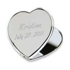 Personalized Heart Mirror Compact: $18.95 #Wedding #Bridesmaid