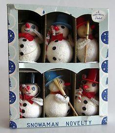 Vintage 40s Shiny Brite Spun Cotton Pipe Cleaner Snowman Christmas Ornaments NIB
