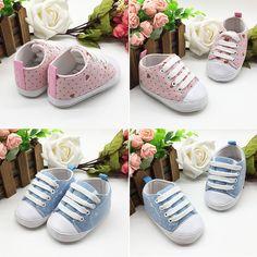 7738fb5cc JCELE Boys Girls Soft Soled Cotton Polka Dot Print Crib Shoes Anti-Slip  Sneaker 737 0-12 Months