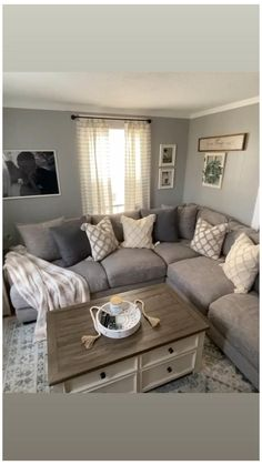 Cozy Grey Living Room, Small Living Room Layout, Small Living Rooms, New Living Room, Living Room Designs, Brown Living Rooms, Living Room Ideas Sectional Couch, Brown Living Room Furniture, Ideas For Living Room