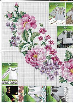 Cross stitch - flowers: Summer flowers (free pattern - chart - part Cross Stitch Heart, Cross Stitch Flowers, Cross Stitch Kits, Cross Stitching, Cross Stitch Embroidery, Embroidery Patterns, Funny Cross Stitch Patterns, Cross Stitch Designs, Crochet Cross