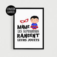"""Poster super héro pour enfant """"Même les superhéros rangent leurs jouets"""" - Affiche citation de super héros"""