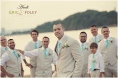 Beige suit with turquoise ties. Love the suits, but would choose a different color tie for our Fall wedding