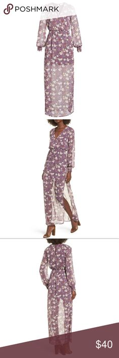 LUSH bell sleeve lavender floral maxi dress A deep surprise neck and sheer, maxi-length overlay patterned with bunches of flowers add alluring romance to this breezy bohemian dress.   -back keyhole closure -surpluses neck -long sleeves with smocked cuffs -elasticized waist -100% Polyester -dry clean -made in USA Comes from my Nordstrom's Trunk Club subscription. Lush Dresses Maxi