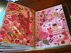 Great idea! Do a two page spread of favorite color or do this with any and all colors. Pink Smash Book Page | Flickr - Photo Sharing!