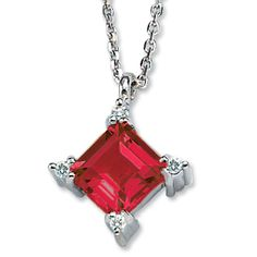 Gabriel and Co. 14K White Gold Princess Cut Garnet .04CT Diamond Pendant with chain