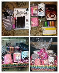 Birthday Gift Basket Set Of Pink Fuzzy Socks Blending Sponges OPI Nail Polish Sketch Book With Pencils Thin Marker Cake Scented Candle