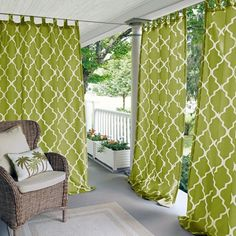 Elrene Home Fashions Corado 50 in. W x 95 in. L Indoor/Outdoor Velcro Tab Top Window Curtain Grass (Green) Indoor Outdoor, Outdoor Rooms, Outdoor Living, Outdoor Decor, Casa Patio, Backyard Patio, Patio Gazebo, Outdoor Curtains, Pergola With Curtains