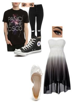 """""""panic! at the disco concert!"""" by misshisscat ❤ liked on Polyvore featuring Topshop and Converse"""