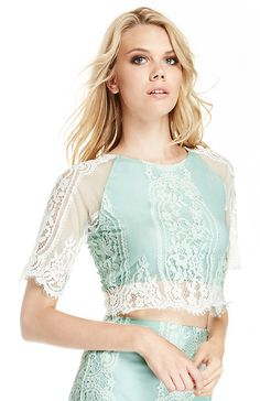 For Love  Lemons Wild Flower Crop Top in Mint XS - M | DAILYLOOK