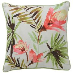 Vila Vista Cushion (130 CNY) ❤ liked on Polyvore featuring home, home decor, throw pillows, pastel home decor, inspirational throw pillows, leaves trees, flower throw pillow and blooming trees