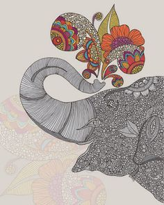 Paisley art elephant drawing.