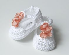 WILLOW Cotton White Crochet T-strap Mary Jane Baby Shoes Baby