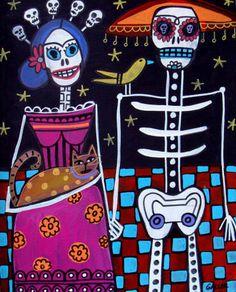 PRINT Frida Kahlo Day Dead Mexican Poster Art Skeleton