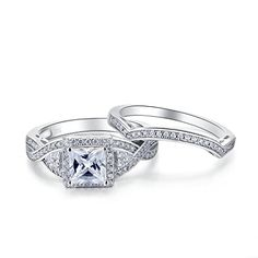 Sterling Silver 2 Pieces Princess Cut Cubic Zirconia Cross Shank Bridal Engagement Wedding Halo Ring Set – Marketplace Jewelers