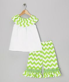 Take a look at this Green Chevron Yolk Top & Capri Pants - Infant, Toddler & Girls by Sew Childish on #zulily today!