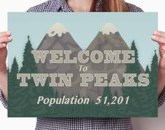A beautiful, high quality graphical reproduction of the Welcome to Twin Peaks sign from the hugely popular Twin Peaks TV show.  In print this looks amazing - the colors are vibrant and the detail is pin sharp!  This poster is available is available with and without the welcome text.  *** Customer satisfaction is my number one priority - please read my reviews and feel free to message me with any questions you might have ***  Each poster is professionally printed on thick, premium grade matte…