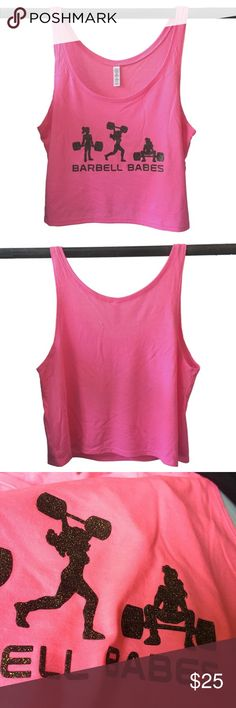 Barbell Babes Neon Pink Workout Crop Tank M Barbell Babes Crop It Like It's Hot logo in black glitter. True to size. Price firm, but applies to bundle discount.  No trades. No holds.  Fast shipping! Barbell Babes Tops Crop Tops