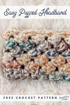 Free Crochet Headband Pattern - Cozy Crochet Winter Headband Pattern - - Use this free crochet headband pattern to make a crochet head band! This crochet puff stitch headband is written in mulitple sizes. Crochet Ear Warmer Pattern, Quick Crochet Patterns, Crochet Simple, Crochet Headband Pattern, Chunky Crochet, Crochet Beanie, Free Crochet, Easy Patterns, Crochet Ear Warmers