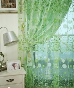 Цветочный дизайн деревенский органза тюль ткань занавески готовые шторы зеленый