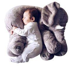 KiKi Monkey Baby Kinderkopfkissen Kleinkind Schlaf Grauer Elefant elephant pillow Stuffed Plüsch Kissen Kinderzierkissen Plüschtiere 100% Baumwolle 40cm*37cm*25cm