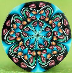 Large Circle Kaleidoscope Polymer Clay Cane 'Fresh by ikandiclay