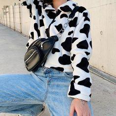 Soft Grunge, Grunge Look, Grunge Style, Cow Pattern, Jacket Pattern, Harajuku, Coats For Women, Jackets For Women, Clothes For Women