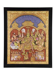 Buy Multicolor Grandeur of Ramdarbar Traditional Tanjore Painting Gold Wood Art Decorative Folk Gilded Icons Framed Paintings Online at Jaypore.com