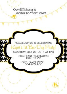 Bee Day Custom Birthday Party Invite Baby Shower by sillymedesign, $15.00