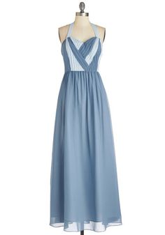 Your Attention, Pleats? Dress - Blue, Special Occasion, Prom, Exclusives, Long, Woven, Blue, Wedding, Bridesmaid, Colorblocking, Maxi, Halter, Sweetheart, Pastel, Private Label