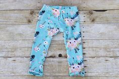 Floral and Feather Leggings/Girl's by SeeInspireCreate on Etsy