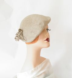 1940s tilt slouch hat/ beret/ heather gray by TheVintageHatShop