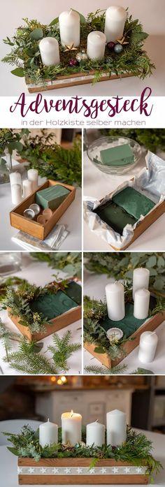 Anleitung für ein selbst gemachtes DIY Adventsgesteck in einer alten Holzkiste im vintage Look als Adventskranz und Deko für den Advent und Weihnachtsdeko mit Tannengrün und Eukalyptus