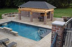 Witching Rectangular Pool With And Without Deck Designs: Interesting Wooden Pergola Roofing With Stones Exterior Columns Also Grey Pavers Backsyard Around Rectangular Pool As Natural Landscape Backyard Ideas Pergola With Roof, Wooden Pergola, Outdoor Pergola, Backyard Pergola, Curved Pergola, Pergola Carport, Pergola Lighting, Covered Pergola, Luxury Pools