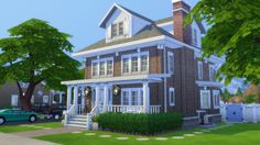 Mod the sims - american foursquare - no cc floor plans sims Sims 4 House Plans, Sims 4 House Building, Sims 3 Houses Ideas, Sims Ideas, House Ideas, The Sims 4 Lots, Sims 4 House Design, Casas The Sims 4, Sims 4 Build