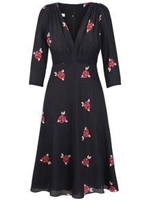 SUZANNAH 30s Soft Black Silk Printed Tea Dress