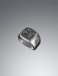 Pave Black Diamond Plate Ring